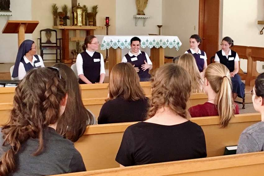 Sisters, novices, and postulants of the Daughters of St. Paul share their experiences with young women at a Vocation Day Camp in North Collins, N.Y.