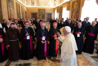 Pope Francis leads an audience with participants in the Congress for the Pastoral Care of Vocations in Europe, at the Vatican June 6, 2019.