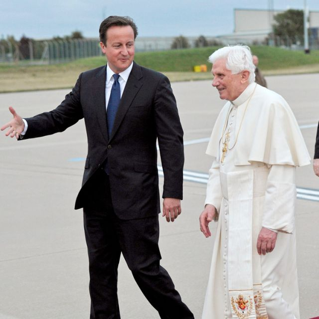 British Prime Minister David Cameron pictured with Pope Benedict XVI.