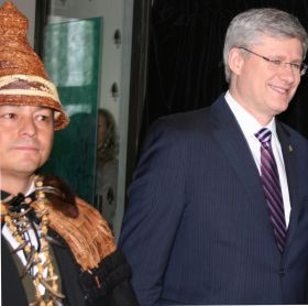 Assembly of First Nations National Chief Shawn Atleo and Prime Minister Stephen Harper process into Crown-First Nations Gathering Jan. 24.