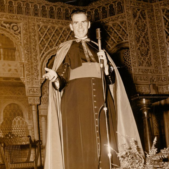 "U.S. Archbishop Fulton Sheen is pictured in an undated file photo. Pope Benedict XVI has approved the heroic virtues of Archbishop Sheen, declaring him ""venerable"" and clearing the way for the advancement of his sainthood cause. The announcement came Jun e 28 from the Vatican. As a priest, he preached on the popular ""The Catholic Hour"" radio program and went on to become an Emmy-winning televangelist."
