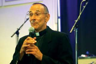 Franciscan Father Dmitri Sala speaks at the Fire and Fusion Conference in Ottawa Aug. 6.