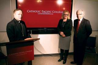 Vancouver Archbishop J. Michael Miller, CSB, alongside Catholic Pacific College president Christine Jones and Trinity Western University president Bob Kuhn.
