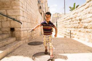 This Palestinian boy playing in the back alleys of Bethlehem may be able to dream of a better future, in part because of   over $2 million Development and Peace spent in 2015-2016 to support community development, health and education programs in the Palestinian Territories.