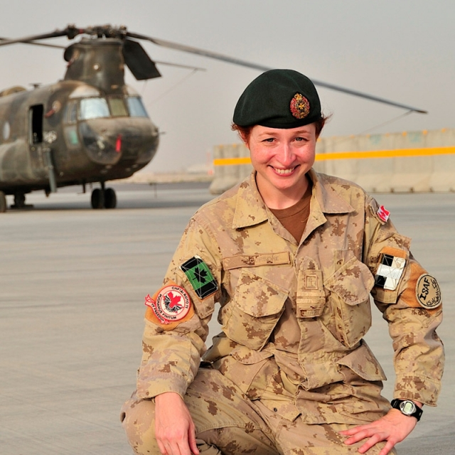 Padre Francesca Scorsone on the tarmac at Kandahar Airfield.