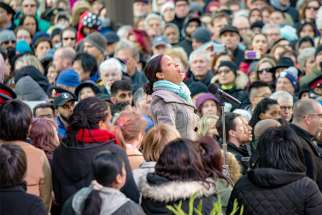 Conductor and soloist Melissa Davis led the Willowdale Community Choir in a setting of the Peace Prayer of St. Francis at Mel Lastman Square April 29.