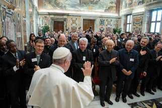 Pope Francis leads an audience with students and staff of the Accademia Alfonsiana at the Vatican Feb. 9, 2019.