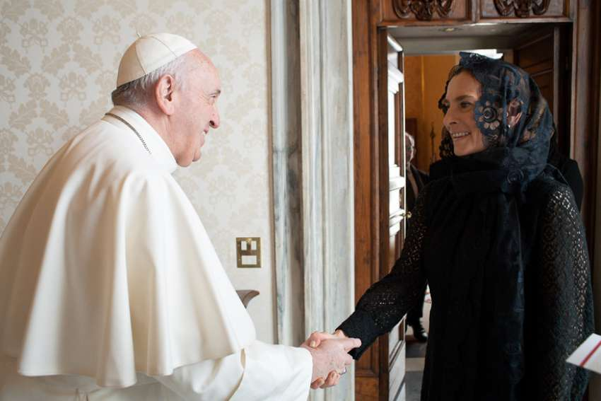Pope Francis meets with Beatriz Gutiérrez Müller, wife of Mexican President Andrés Manuel López Obrador, during a private audience at the Vatican Oct. 10, 2020. The president's wife delivered a letter from the president asking Pope Francis to apologize for the church's role in the Spanish colonization of the Americas.