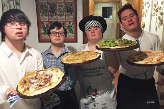 Left to right: Franco, Leandro, Mateo and Mauri have started a successful pizza service in Argentina.
