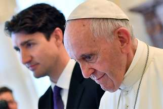 Pope Francis meets Canadian Prime Minister Justin Trudeau during a private audience in 2017 at the Vatican.