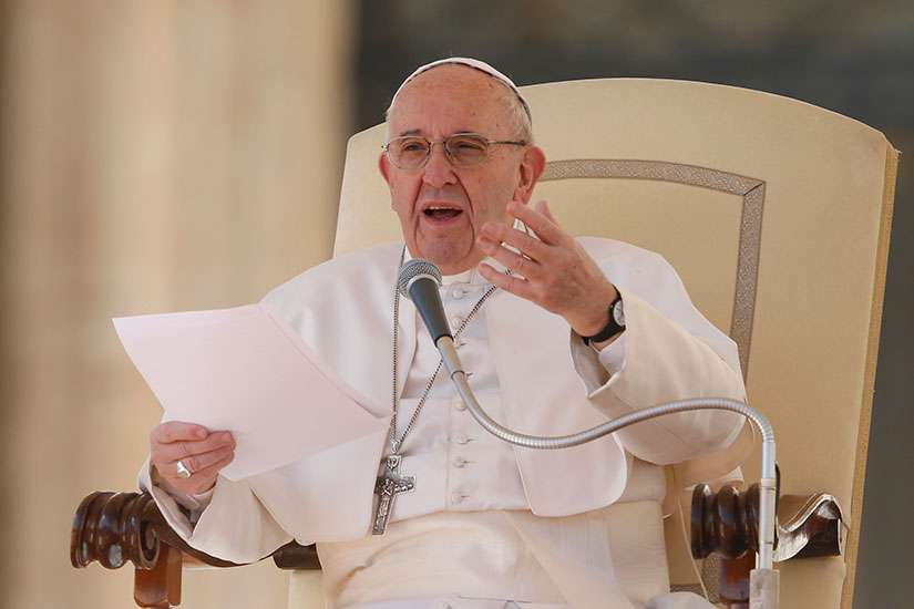 Pope Francis speaks during his general audience in St. Peter's Square at the Vatican March 1.