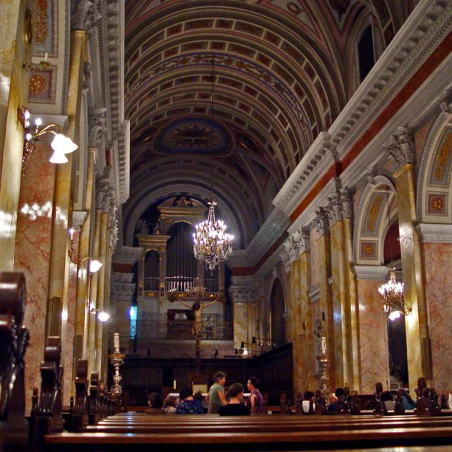 An inside view of the church of St Saviour Jerusalem