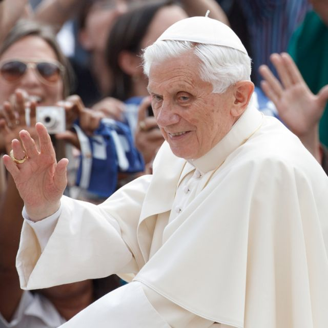 Pope Benedict XVI waves as he arrives to lead his general audience in St. Peter's Square at the Vatican May 16.