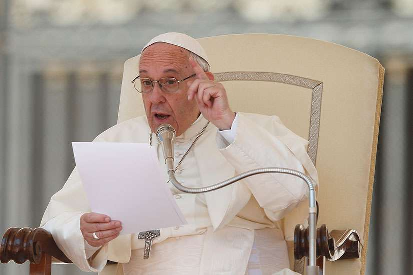 Pope Francis speaks during his general audience in St. Peter's Square at the Vatican May 31.